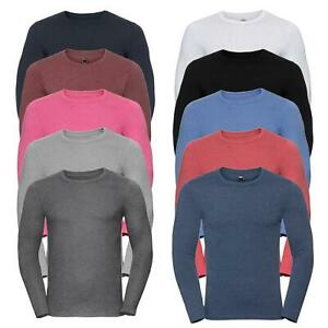 Mens Long Sleeve T-shirt Cotton Base Layer Slim Muscle Fit Top Plain Jersey Crew