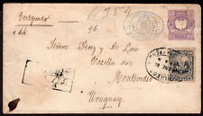 299 PERU TO URUGUAY REGISTERED STATIONERY ENVELOPE MOLLENDO - MONTEVIDEO look!!