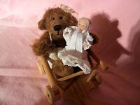 Künstlerteddy Teddybär Bärenmädchen mit Püppchen im Bollerwagen Unikat
