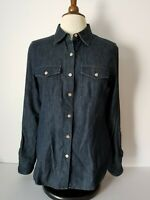 TALBOTS Womens Blue Denim Ranch Shirt Sz.10 Button Front Long Roll Tab Sleeves