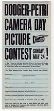 "1964 ""Dodger-Petri Camera Day Contest Entry Blank"" Brochure"