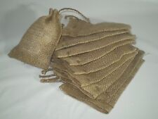 "10 Burlap Jute 4"" x 6"" Bags Natural Beige Color with Drawstring"