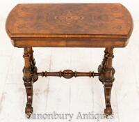 Victorian Card Table - Antique Walnut Games Tables 1860