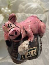 Blue Sky Clayworks Bottle Stopper Cork Topper Pig Drinking Ale Beer Barrel Keg
