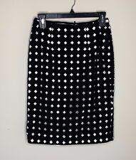 WOW~ White House Black Market sz 2 Black and White Dressy Knee Skirt WHBM
