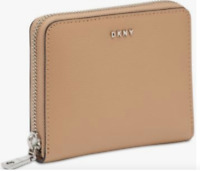 DKNY  Bryant Zip Around Compact Wallet Saffiano Leather Latte Tan Silver NEW