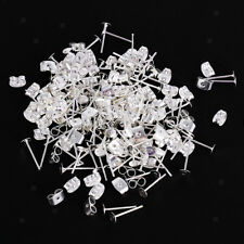 20pcs Silver Post Stud Needle Earring Flat Pad Finding 4mm With Scroll Backs