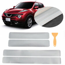 4Pcs 3D Carbon Fiber Silver Car Door Sill Scuff Plate Cover Anti Scratch Sticker