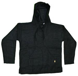 BLACK Baja Pullover Hoodie Shirt Mexican Surfer Poncho ANY SIZE S M XL XXL 03