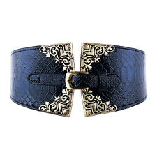 Hot Lady Women Elastic Waistband Wide Waist Belt Retro Metal Buckle Leather