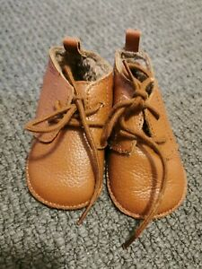 Baby Girl Boy Next Unisex Tan Leather Booties Size 2 6-12 Months
