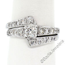 VINTAGE 14k oro blanco 1.06 Quilates Redondo Diamante De Compromiso &