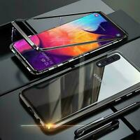 Hülle Magnet Samsung Galaxy A50 Schutzhülle Glas Handy Tasche Panzer Case Cover