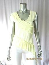 MODA INTERNATIONAL SZ S Cotton Blend Shiffon Decor Pale Yellow Top Blouse Shirt