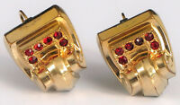 ANTIQUE ART DECO SCROLL RED RHINESTONES YELLOW GOLD FILLED EARRINGS SCREWBACK !