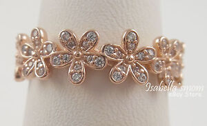 DAZZLING DAISY Band Genuine PANDORA Silver ROSE GOLD Plated RING/Cz 7/54 NEW