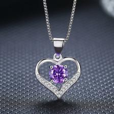925 Sterling Silver Heart Blue Purple Birthday CZ Pendant Necklace 18