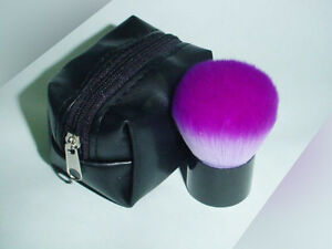 Cosmetic Purple Kabuki Brush Case Black pouch Synthetic Fiber Carry Easy new