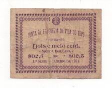 PORTUGAL AZORES ACORES 2,5 CENTAVOS 1921 VILA DO TOPO NOTGELD LOOK SCANS