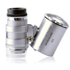 60x Mini Pocket Microscope Loupe Light NEW Handheld LED  Jeweler Magnifier