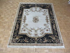 7'10 x 10 Hand Knotted Ivory Aubusson Tabriz With Silk Oriental Rug G5254
