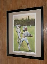 Caught at the Wicket, John Edwards print, 20''x16'', framed. cricket wall art