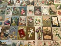 Big~Lot of 50 Antique Easter Postcards~Animals~Chicks~Rabbits~Kids~Angels-p-803