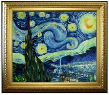 Framed, Van Gogh Starry Night Repro, Quality Hand Painted Oil Painting, 20x24in