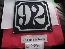 Hausnummer Emaille Nr. 92 weisse Zahl auf blauem Hintergrund 14 cm x 14 cm .....