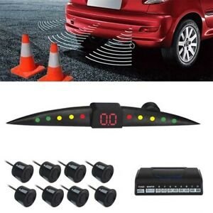 8 black Parking Sensors Buzzer Car Reverse Backup Rear Radar System Sound Alarm