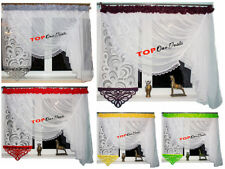 """Amazing """"Azur"""" Voile Net Curtain Ready Made Novelty Solid Gray Red Green Brown"""