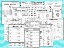 277 Printed Math and Literacy Worksheets. Money, Time, Letter Sounds, Word Fam