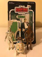 VINTAGE STAR WARS  LOT! - BESPIN HAN & CARDBACK, CHEWIE, C-3PO, R2D2 - HONG KONG