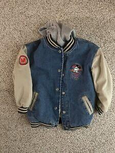 Vintage 90s Disney Mickey Mouse League Blue Toddler Denim Varsity Jacket Size 2