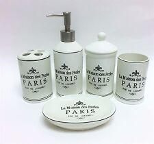 5 PC SET IVORY LA MAISON DES PERLES PARIS,RUE DE LOURMEL,SOAP DISPENSER+4 MORE