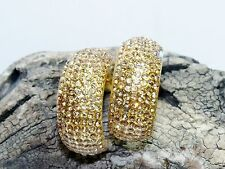 Vtg Hoop Clip On Earrings Design by SD Topaz made with Swarovski Crystal Pave