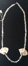 Fresh Water Pearl Necklace with Carved & Inked Chinese Horses