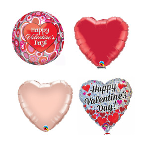 VALENTINES DAY FOIL BALLOONS - RED / ROSE GOLD LOVE HEART BALLOONS