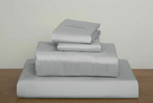 Duvet Set + Fitted Sheet Super King Size Silver Solid 1000 TC Egyptian Cotton