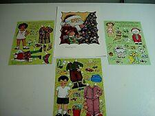 Vtg Mary Engelbreit Christmas Art Print & Paper Dolls-Lilah/Tommy/Georgia /Santa