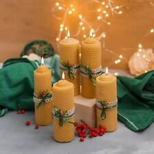 Completely Handcrafted Set of 5 Yellow Organic Beeswax Candles 5 inch / 12 cm