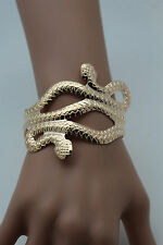 Women Cuff Bracelet Gold Metal Fashion Jewelry Cobra Snake Trendy Wrap Around