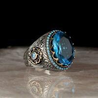 Herrenring silber 925 mit blaue Topas stein oval Edelstein ring