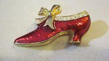Swarovski Swan Signed Red Enamel and Crystal Old Fashioned Shoe Brooch 200