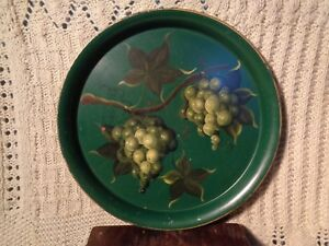 Antique Round TOLEWARE Painted metal GRAPES VINE Serving TRAY Art Deco FOLK ART