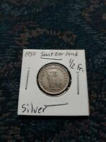 1950 SWITZERLAND 1/2 FRANCS *SILVER* COIN