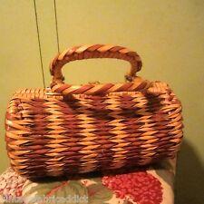 1960S Retro Woven Wicker Cane Or Straw VINTAGE Handbag