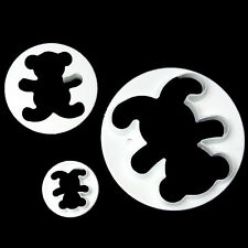 3Pcs Teddy Bear Shaped Cookie Fondant Cake Icing Cutter Mold Biscuit Decor Set