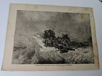ANTIQUE ART PRINT ENGRAVING-THRILLING VOYAGE OF SIX MONTHS ON AN ICEBERG