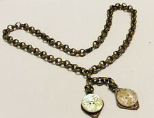 Antique Victorian Fancy Link Brass Heavy Chain Necklace Carved Mop Buttons